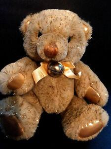 Teddy bear gold glitter shimmer  1988  plush Dakin bow bell stuffed animal VTG