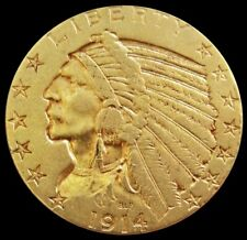 1914 P GOLD UNITED STATES $5 DOLLAR INDIAN HEAD HALF EAGLE COIN SCARCER DATE