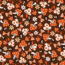 Quilt gate tissu tick tack rétro champignon brun par mètre japon import japonais