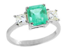 2.29ct Three-Stone Colombian Emerald & Diamond Ring in 14K White Gold