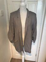 Uk Size 16 River Island Houndstooth Tweed Ruched Sleeve Blazer Jacket BNWT