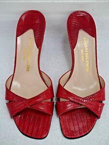 GIANNI MILANESI red genuine lizard slide sandals heels Italian size 38.5 US 8
