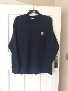 Mens Size Medium Navy Blue Crew Neck Long Sleeve Sweatshirt By Carhartt