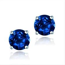 ARGENT STERLING Synthétique Bleu Sappire 6mm ROUND Stud Earrings