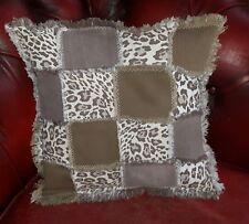 Patchwork Leopard Print, Animal Print Cushion Cover, Handmade Multi Patch Denim