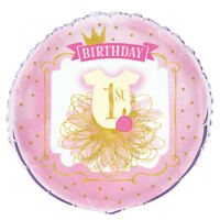 """18"""" Baby Girls Pink & Gold 1st Birthday Party Foil Helium Balloon Decoration"""