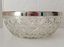 "CRYSTAL BOWL WITH SILVERPLATE RIM 10-1/2"" W x 4"" H, ENGLAND"