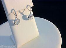 Solitaire Drop Earrings-Round Cubic Zirconia-Bezel Set-Leverback-Rhodium-Classic
