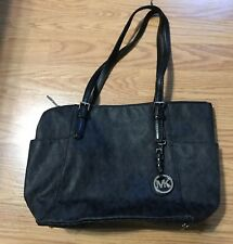 Michael Kors Jet Set Signature Logo Tote Black Handbag