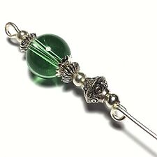 "Silver Green Hat Pin Glass Tibetan Vintage Style Bead 5"" Strong Pin & Protector"