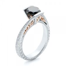 cubic zirconia ring Solitaire Shank Black