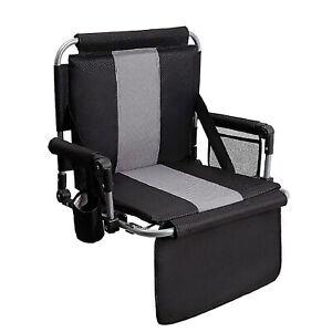 Portable Folding Stadium Seat Chair for Bleachers with Back Armrest Cushion