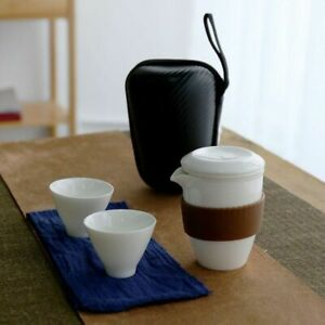 White Chinese Glass Ceramic Travel Kung Fu Teapot And Cup For Portable Drinkware