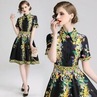 Hot Summer Floral Baroque Print Collar Short Sleeve Empire Waist Women Dress