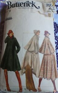 Vtg 1970s Butterick 3925 Designer Kenzo Flared Cape Coat SEWING PATTERN 12 cut