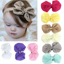 9PCS/Set Babys Chiffon Flower Bow Girls Elastic Headband Photography Headbands