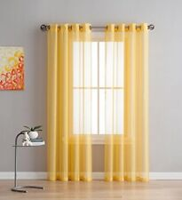 NEW - Linen Zone 2-Piece 54-by-108-Inch Grommet Sheer Panel Curtains, Yellow