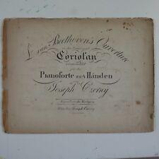 BEETHOVEN CORIOLAN OVERTURE arr czerny , piano 4 hands duet , antique