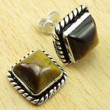 Simple Stud Earrings 3/8 Inches New 925 Silver Plated Sparkling Tiger'S Eye