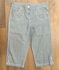"""STYLE & CO Petite Stripe Stretch Capri Pants Snap Cuffs Womens Sz 12P Waist 34"""""""