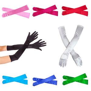 "21"" Long Satin Finger Gloves For Women's  Evening Party Wedding Formal Bridal"