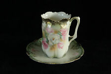 RS PRUSSIA PORCELAIN SATIN FINISH CUP & SAUCER PINK & WHITE CARNATIONS SIGNED
