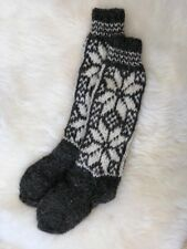 Genuine Natural Pure Sheep Wool Hand Knitted Long Length Sofa Bed Socks Size 4-7