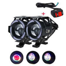 2x U7s LED Motorcycle Headlight Bulb Red Fog Lamp Front Spot Light Angel Eye US