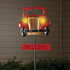 """New listing Old Fashioned Antique Car """"Welcome"""" Garden Stake w/ Solar Powered Headlights"""