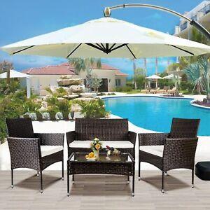 Patio wicker Furniture Outdoor 4Pcs Rattan Sofa Garden Conversation Set, Brown