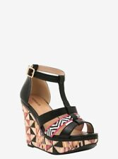 Torrid Pink multiprint Wedges Sandals Sz 9W NWT