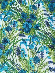"""VERA NEUMANN Floral Tablecloth 60"""" x 98"""" Blue Green Lillies Cotton Blend"""