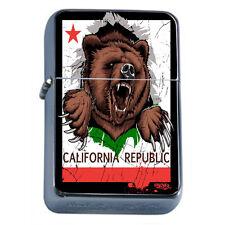 Windproof Refillable Oil Lighter California Bear D1 Republic Cali Flag