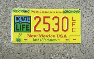 NEW MEXICO DONATE LIFE REAL AUTHENTIC LICENSE PLATE AUTO NUMBER CAR TAG DONOR NM