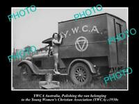 OLD POSTCARD SIZE PHOTO OF YOUNG WOMENS CHRISTIAN ASSOCIATION YWCA TRUCK c1930s