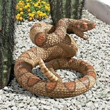 Realistic Coiled Venomous Snake Rattle Tail Sculpture Garden Statue