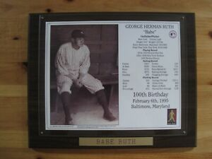 Babe Ruth commemorative plaque with career pitching & hitting statistics