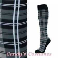 Stylish TARTAN Knee-High SOCKS Grey BLACK White PLAID School COSTUME Gray WORK