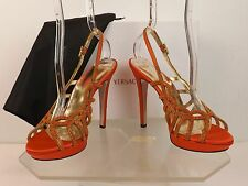 NIB VERSACE ORANGE SATIN SWAROVSKY CRYSTAL SLINGBACK EVENING SANDALS 37 $1690