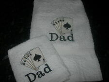 PERSONALISED CARD PLAYING/ DAD HAND TOWEL & FACE CLOTH