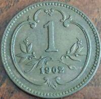 1902 Austria 1 Heller Coin Eagle Franz Joseph I KM#2800 - 112 Years Old!!