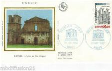 1982**ENVELOPPE SOIE**FDC 1°JOUR**UNESCO-EGLISE SAO MIGUEL-BRESIL**TIMBRE Y/T 72