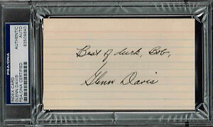 GLENN DAVIS SIGNED AUTO INDEX CARD PSA/DNA 83509840