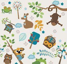 Kinderstoff Creme Patchworkstoff Stoff Tiere Eulen Kinder Patchwork Vorhangstoff