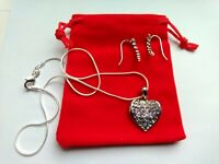 Crystal Heart Pendant on 925 Silver Chain Necklace, with Crystal Earrings,  #177