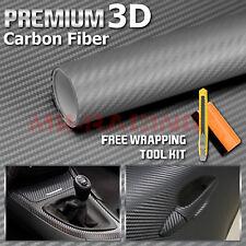"""*12""""x60"""" 3D Matte Gray Carbon Fiber Textured Car Vinyl Wrap Sticker Decal Film"""