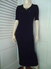 Ralph Lauren Petite Dress P Long Rib Knit Stretch Black Cotton V-Neck Tie