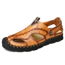 Men Summer Leather Sandals Outdoor Closed Toe Breathable Wading Soft Beach Shoes