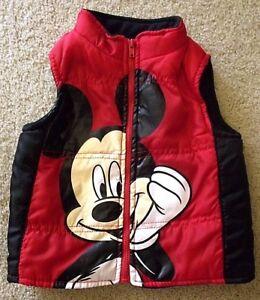 Disney Mickey Mouse Jacket Vest Toddler Baby Kids 18M Full Zip Up