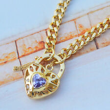 """9K Yellow Gold Filled Euro Bracelet With Sparkly Stone Heart Locket """"Stamp 9K"""""""
